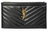 Saint Laurent Monogram Matelasse Leather Zip Pouch