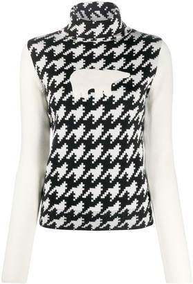 Perfect Moment Polar Bear Houndstooth Print Jumper