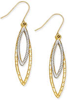 Macy's Two-Tone Double Marquise Drop Earrings in 10k Yellow and White Gold