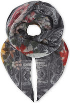 Etro Ladies Grey Floral Traditional Scialle Cashmere Scarf