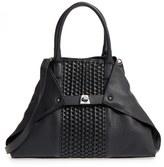 Akris 'Small Ai' Masai Stripe Convertible Calfskin Leather Satchel - Black