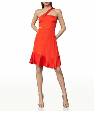 BCBGMAXAZRIA Women's One Shoulder Cut-Out Waist Mini Dress