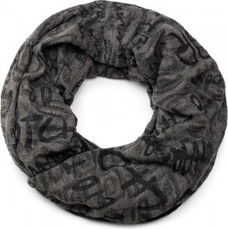 styleBREAKER destroyed vintage-look loop tube scarf with character pattern scarf kerchief unisex 01017038