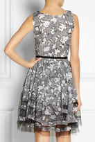 Oscar de la Renta Printed silk-chiffon and tulle dress