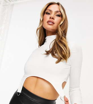 Missy Empire exclusive high-neck crop top with d-ring detail in white