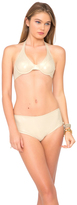 Luli Fama Cosita Buena Underwire Halter Top in Gold Rush