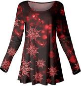 Azalea Red & Black Snowflake Scoop Neck Tunic - Plus Too