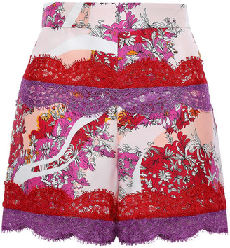 Emilio Pucci Lace-trimmed Floral-print Silk-twill Shorts