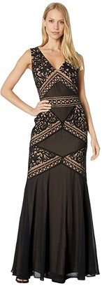 BCBGMAXAZRIA Embroidered Evening Gown (Black) Women's Dress