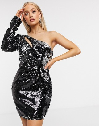 I SAW IT FIRST sequin one shoulder cut out dress in black