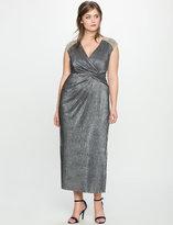 ELOQUII Plus Size Studio Wrap Front Dress with Shoulder Beading