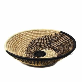 Global Crafts Handmade Woven Sisal Basket, Natural/Black Spiral