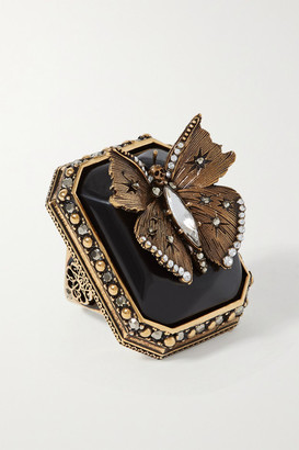 Alexander Mcqueen Alexander McQueen - Gold-tone, Resin, Crystal And Faux Pearl Ring