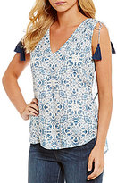 Jessica Simpson Trina Printed V-Back Ruffle Sleeveless Top