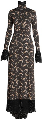 Paco Rabanne Printed Jersey Lace-Trimmed Dress
