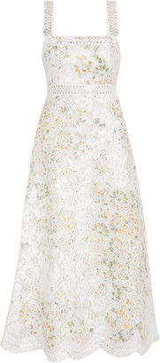 Zimmermann Amelie Embroidered Floral Linen-Cotton Midi Dress