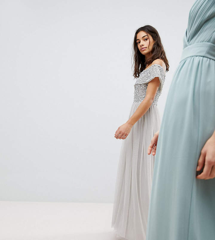 Bardot Maya Petite Sequin Top Tulle Detail Dress With High Low Hem