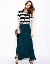 Asos Maxi Skirt With Splits - Bottle green