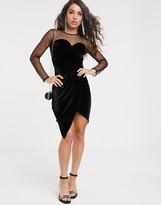 TFNC dobby mesh long sleeve mini dress