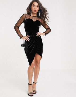 TFNC dobby mesh long sleeve mini dress-Black
