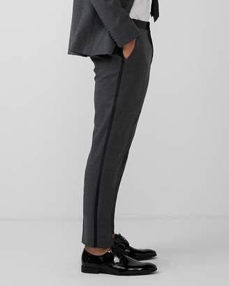 Express Slim Gray Flannel Wool-Blend Tuxedo Pant
