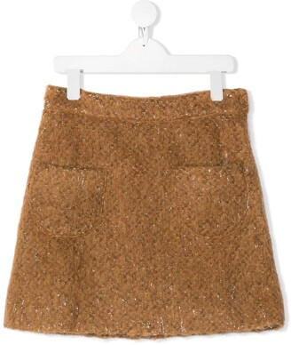 woven tweed A-line skirt