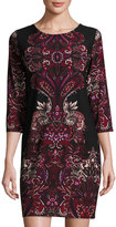Neiman Marcus Paisley-Print 3/4-Sleeve Dress, Black/Wine