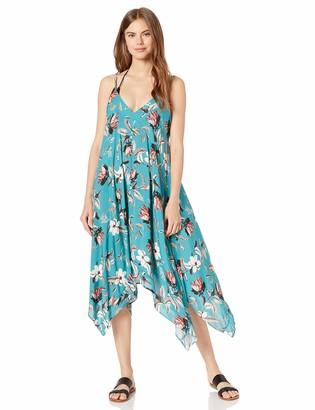 BCBGMAXAZRIA Womens Desert Flower Flowy Midi Dress Teal MD