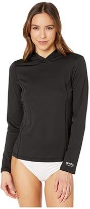 Speedo Long Sleeve Hooded Swim Tee Black) Women's Swimwear