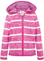 Fat Face Girls' Croyde Stripe Zip Through Hoodie, Fuchsia