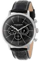 Akribos XXIV Men's AK647SS Ultimate Multifunction Stainless Steel Watch with Textured Black Leather Band