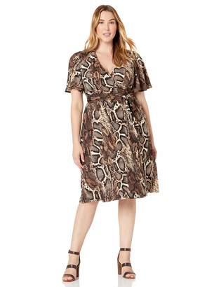 Donna Morgan Women's Plus Size Matte Jersey Printed Faux Wrap Short Dress