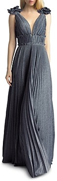 Basix II Pleated Shimmer Gown