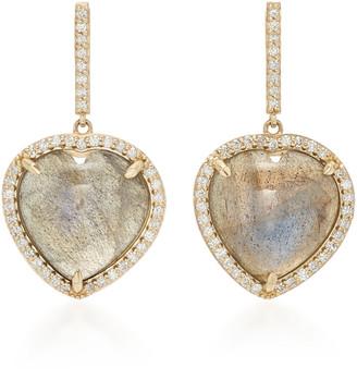 Sheryl Lowe Women's 14K Gold; Diamond And Labradorite Earrings - Gold - Moda Operandi