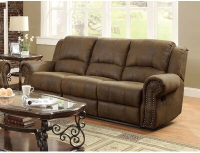 """Thumbnail for your product : Winston Porter Sanita 89"""" Faux Leather Rolled Arm Reclining Sofa"""