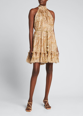 Zimmermann Brighton Ruffle-Neck Belted Halter Dress