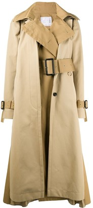 Sacai Deconstructed Twill Panel Trench Coat