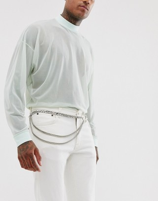 ASOS DESIGN silver chain belt