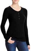 Aqua Cashmere Waffle Knit Henley Cashmere Sweater