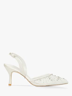 Dune Bridal Collection Dreamie Embellished Slingback Heels, Ivory