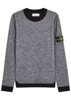 Stone Island Grey Mélange Wool Blend Jumper