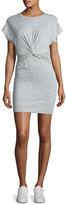 IRO Pier Stretch Jersey Twist-Front Mini Dress, Light Gray