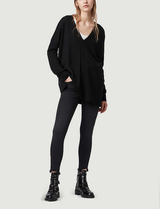 AllSaints Arly V-neck wool and cupro jumper