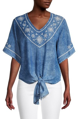 Karen Kane Embroidered Cotton Tie-Front Top
