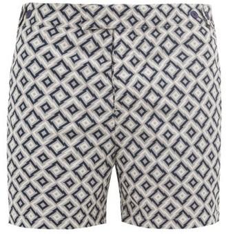 Frescobol Carioca Pangra-print Technical-shell Swim Shorts - Grey Navy