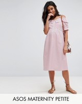 Asos Petite Candy Stripe Dress With Cold Shoulder
