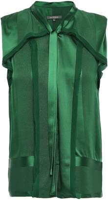 Zac Posen Frayed Chiffon-trimmed Silk-satin Jacquard Top