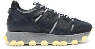 Lanvin Lightening Panelled Leather Trainers - Mens - Blue