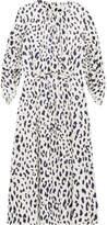 Tibi Ruched Leopard-print Silk-satin Midi Dress