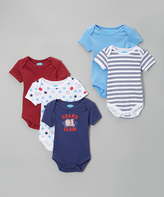 Bon Bebe Blue & Red 'Grand Slam' Bodysuit Set - Infant